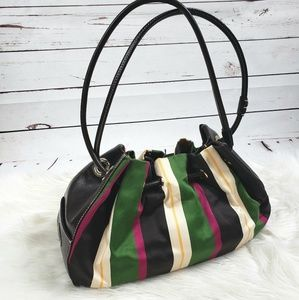 Kate Spade stripe leather & satin fabric hobo bag